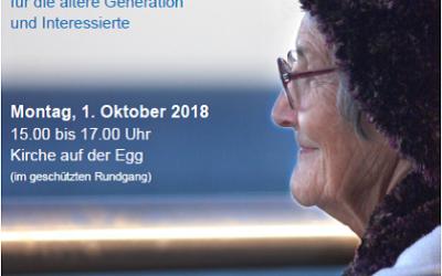 Vorschau / Zürich Wollishofen  01.10.18 – Älter sein und älter werden – Seniorentischmesse